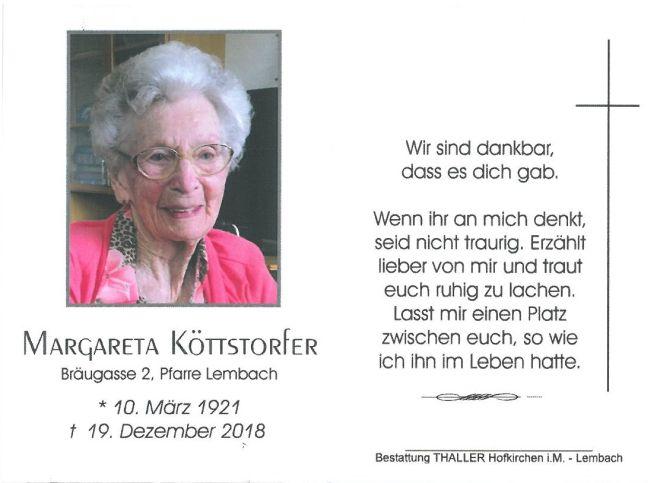 Sterbebild Köttstorfer Margareta