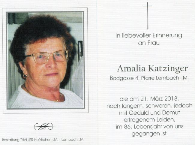 Sterbebild Katzinger Amalia