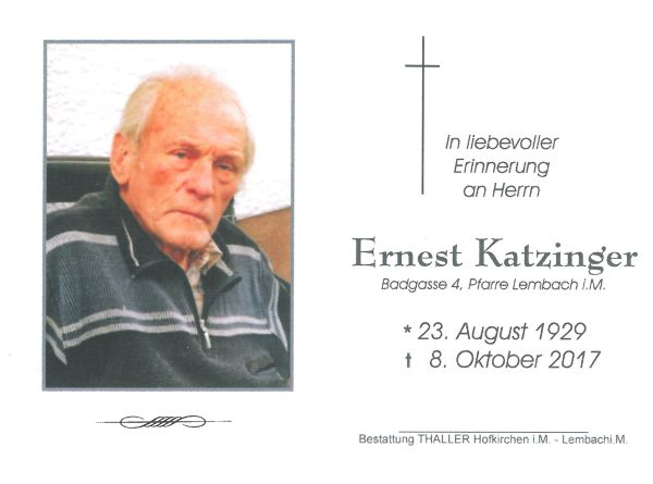 Sterbebild Katzinger Ernest