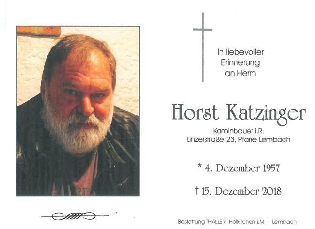 Sterbebild Katzinger Horst