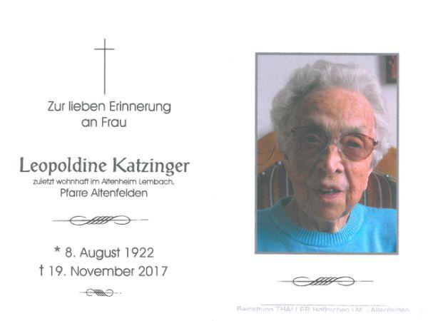 Sterbebild Katzinger Leopoldine