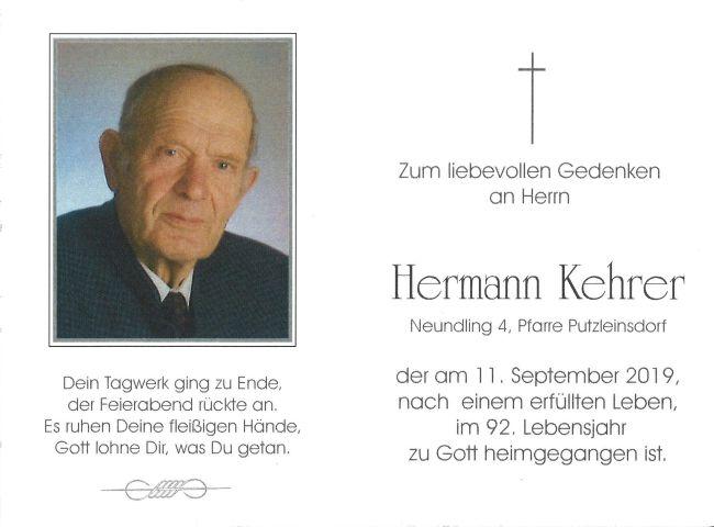 Sterbebild Kehrer Hermann innen