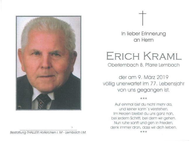 Sterbebild Kraml Erich