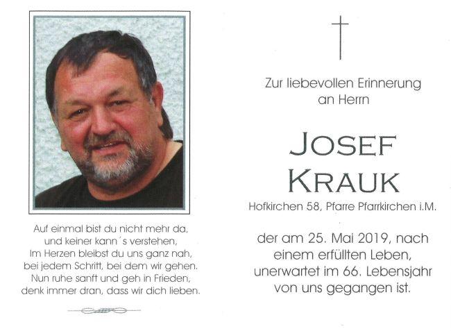 Sterbebild Krauk Josef