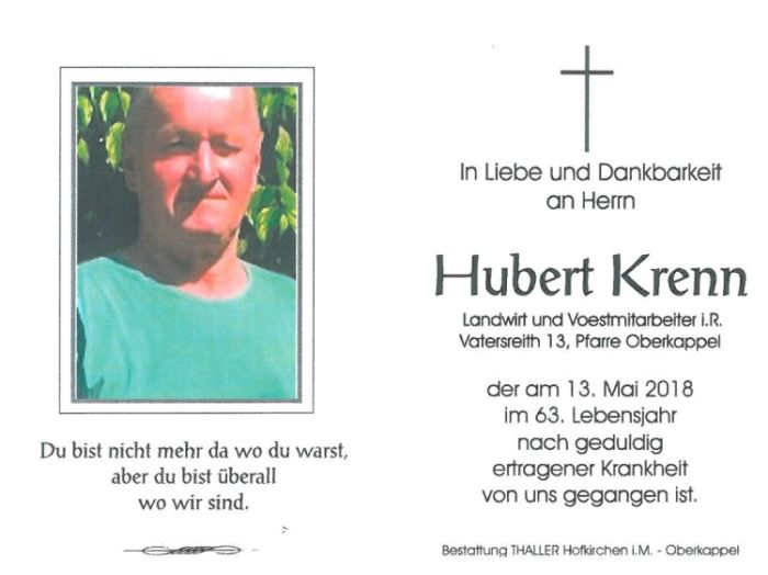 Sterbebild Krenn Hubert