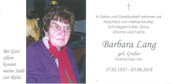 Sterbebild Lang Barbara innen