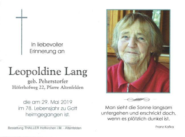 Sterbebild Lang Leopoldine