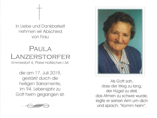 Sterbebild Lanzerstorfer Paula innen