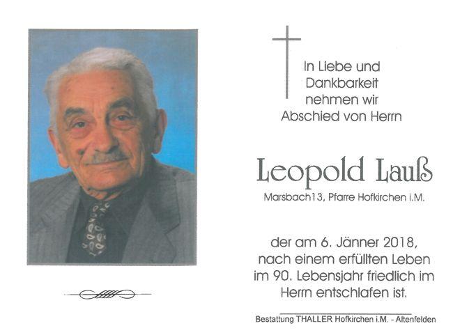 Sterbebild Lauß Leopold