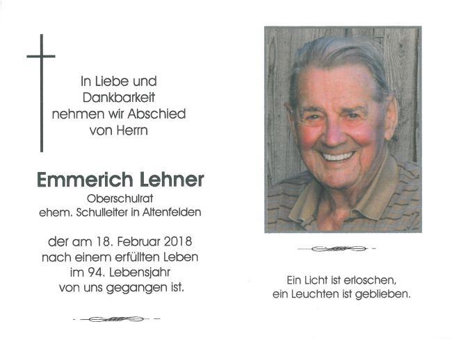 Sterbebild Lehner Emmerich