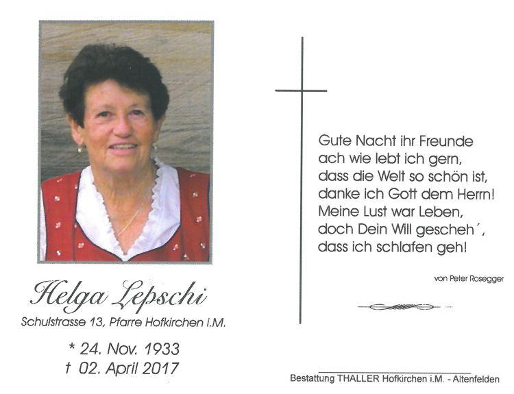 Sterbebild Lepschi Helga