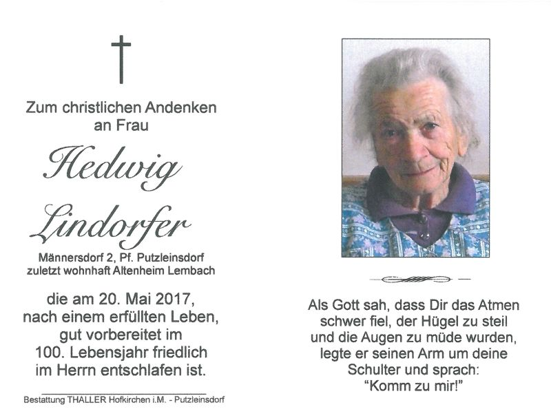 Sterbebild Lindorfer Hedwig