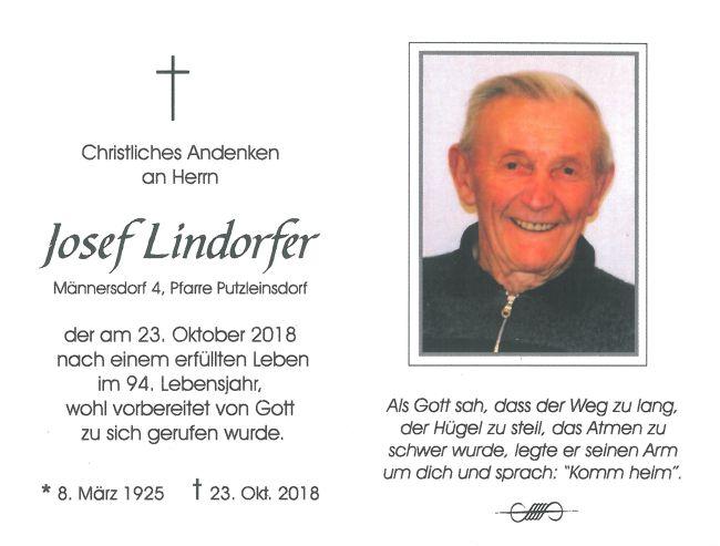 Sterbebild Lindorfer Josef