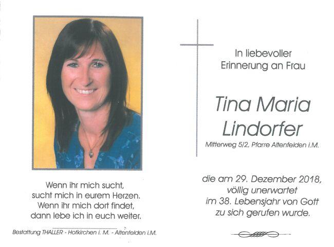 Sterbebild Lindorfer Tina Maria