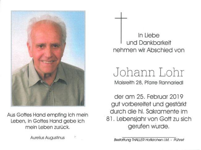 Sterbebild Lohr Johann innen