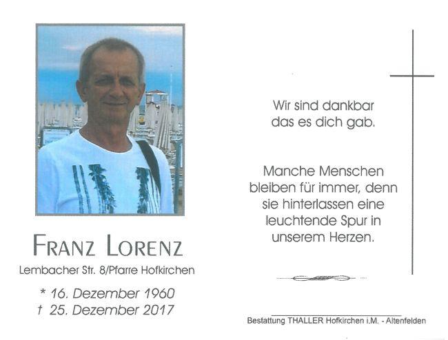 Sterbebild Lorenz Franz