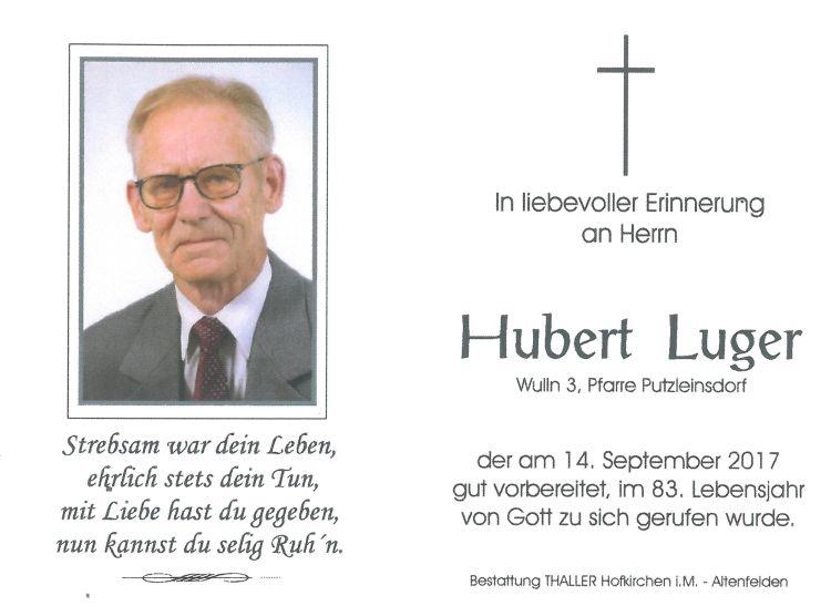 Sterbebild Luger Hubert