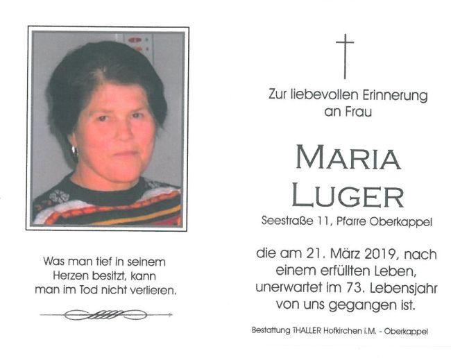 Sterbebild Luger Maria Innenseite