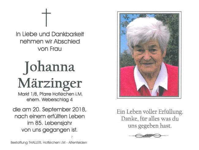 Sterbebild Märzinger Johanna