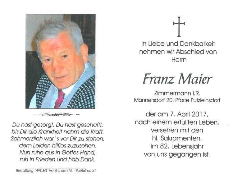 Sterbebild Maier Franz
