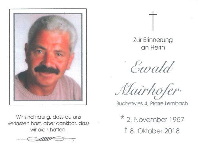 Sterbebild Mairhofer Ewald