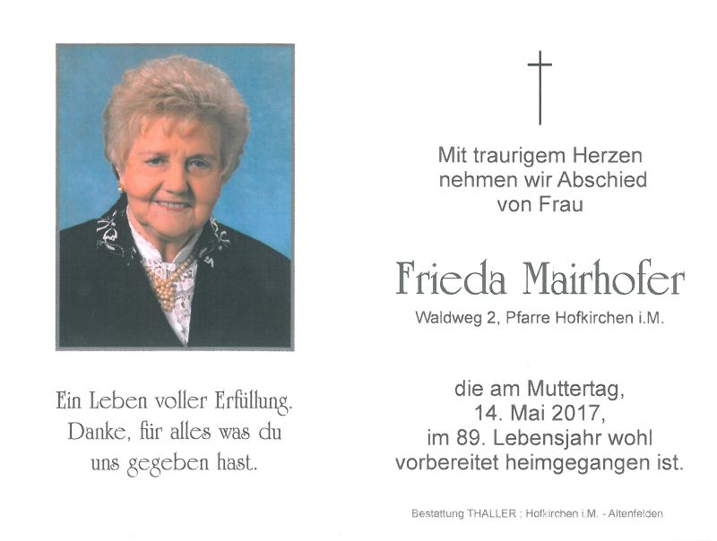 Sterbebild Mairhofer Frieda