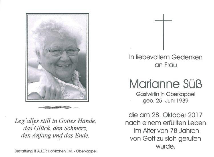 Sterbebild Marianne Süß