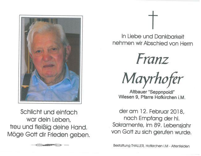 Sterbebild Mayrhofer Franz