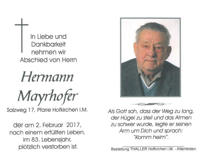 Sterbebild Mayrhofer Hermann