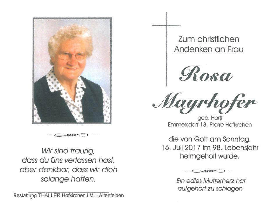 Sterbebild Mayrhofer Rosa