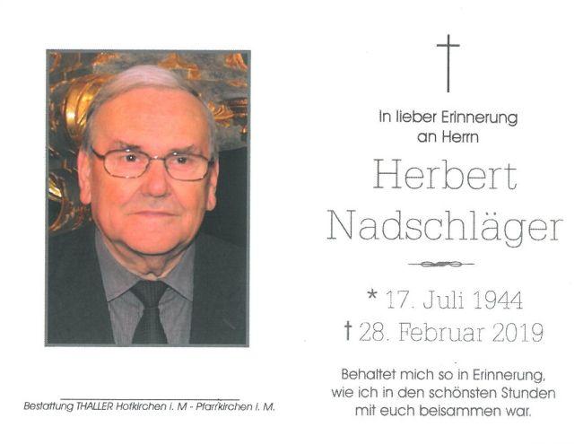 Sterbebild Nadschläger Herbert
