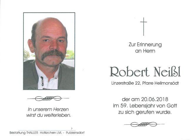 Sterbebild Neißl Robert