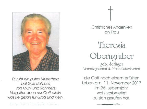 Sterbebild Obergruber Theresia