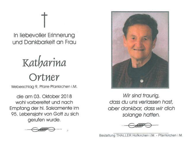 Sterbebild Ortner Katharina