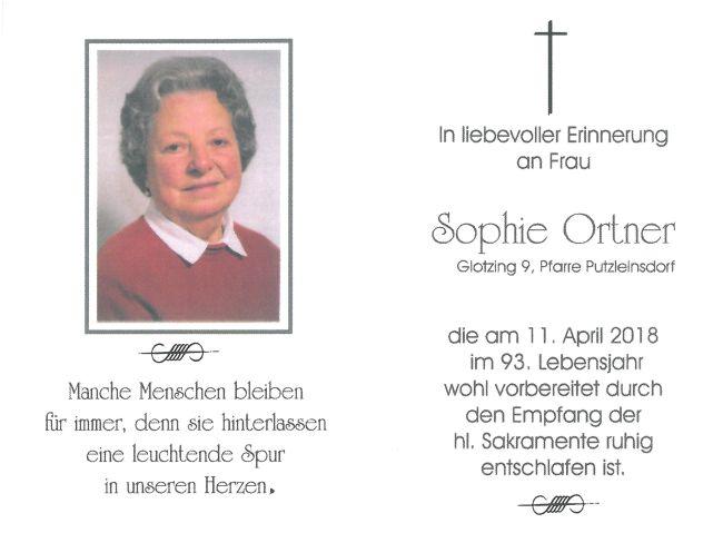 Sterbebild Ortner Sophie