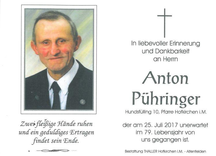 Sterbebild Pühringer Anton