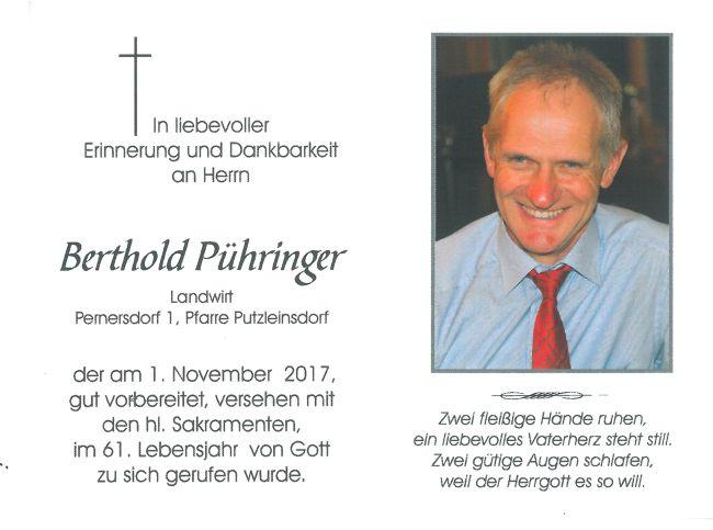 Sterbebild Pühringer Berthold