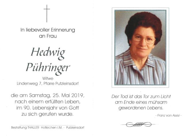 Sterbebild Pühringer Hedwig