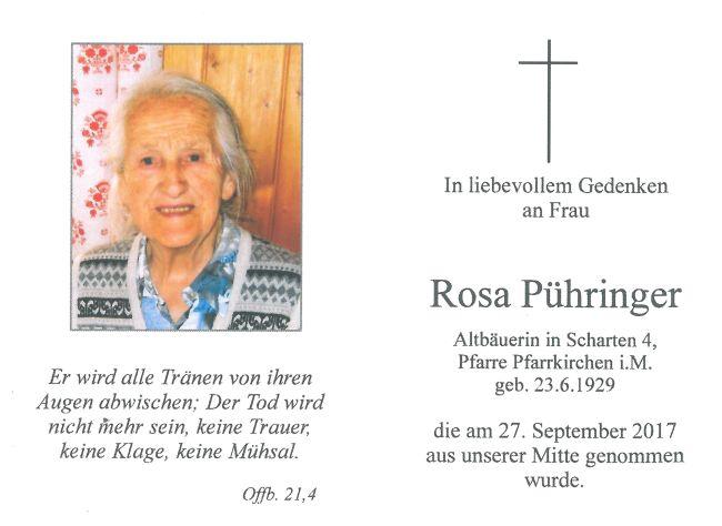 Sterbebild Pühringer Rosa