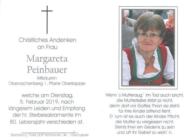 Sterbebild Peinbauer Margareta