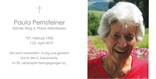 Sterbebild Pernsteiner Paula Innen