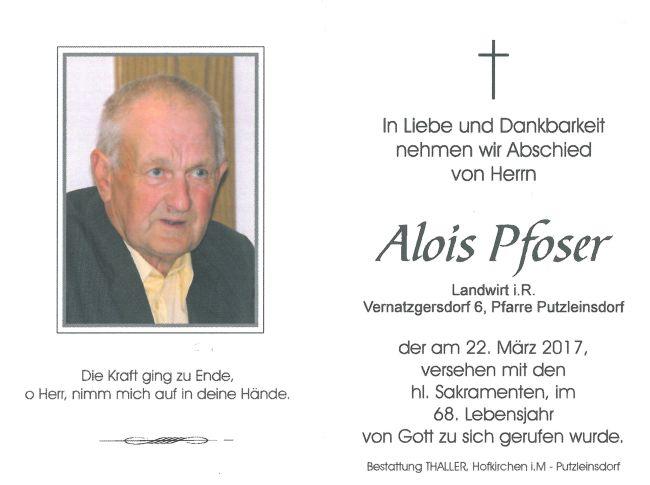 Sterbebild Pfoser Alois