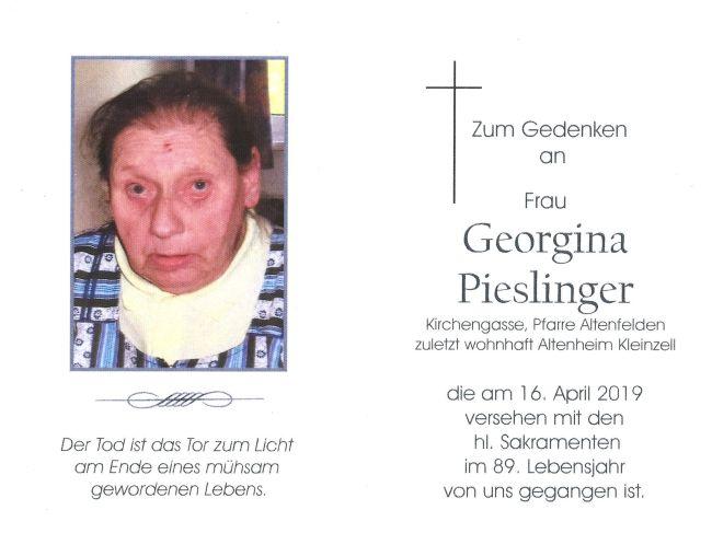 Sterbebild Pieslinger Georgina