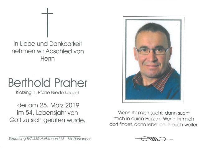 Sterbebild Praher Berthold