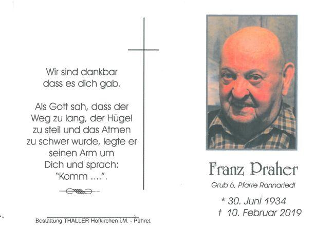 Sterbebild Praher Franz