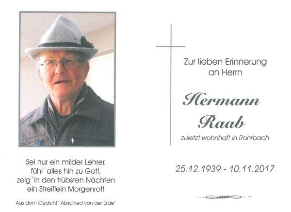 Sterbebild Raab Hermann