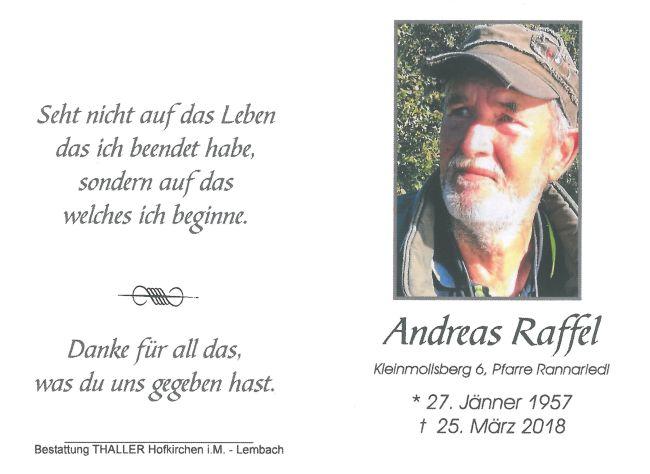Sterbebild Raffel Andreas