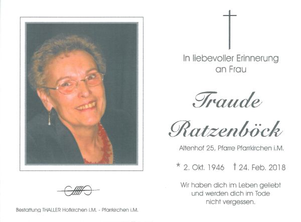 Sterbebild Ratzenböck Traude