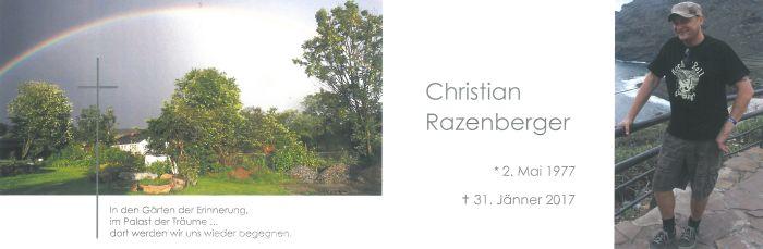 Sterbebild Razenberger Christian innen