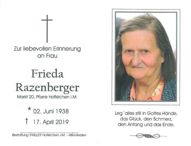 Sterbebild Razenberger Frieda
